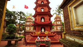 Panning,Hanoi,Vietnam,Tran Quoc Temple Pagoda. Day time stock video footage