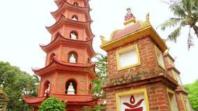 Panning,Hanoi,Vietnam,Tran Quoc Temple Pagoda stock footage