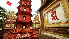Panning,Hanoi,Vietnam,Tran Quoc Temple Pagoda stock video footage