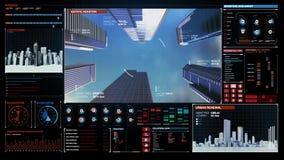 Panning kamera, Robić stalowej ramy i budowy technologii budynkowi w cyfrowego pokazu desce rozdzielczej Niski widok ilustracja wektor