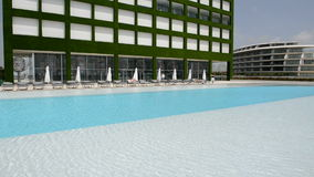 Panning left of building and swimming pool at the modern luxury hotel stock video