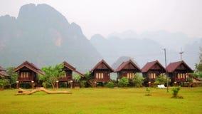 Panning - Morning at limestone mountains,Vang Vieng village,Laos. Day time stock video