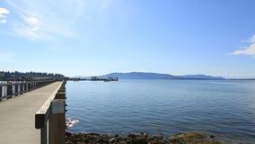 Panning movie of Boulevard Park along Bellinigham Bay in Washington State stock footage