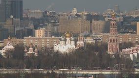 Panning na Moscow miasta krajobrazie w zimie zbiory