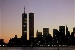 Panning New York City skyline with Twin Towers stock footage