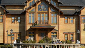 The panning of. NOVI PETRIVTSI, UKRAINE - OCTOBER 14: The panning of Khonka house in Mezhigirya on October 14, 2014 in Novi Petrivtsi, Ukraine. It is former stock video footage