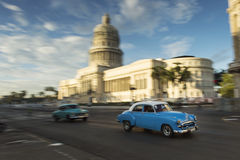 Panning with old car on streets of Havana, Cuba Royalty Free Stock Photos