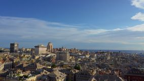 Panning on old Genoa city at sunset from Spianata Castelletto in Italy. stock footage