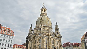 Panning over church of our Lady, Dresden, Germany stock footage