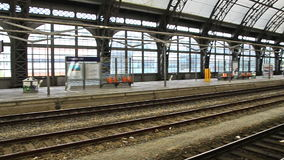 Panning over empty railway station in Dresden stock video