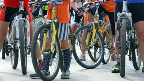 Panning over a group of bicycles stock footage