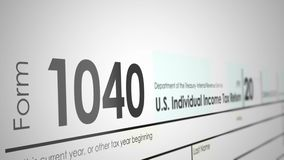 Panning over a 1040 Tax Form from the IRS with Shallow Depth of Field