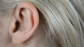Panning over a woman's ear. Extreme closeup footage of a woman's ear. Panning camera stock video footage