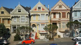 Panning right view of the painted ladies houses in San Francisco