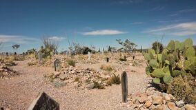 Panning shot of Boothill Cemetery in Tombstone, Arizona