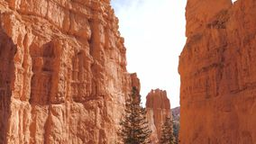 Pan Shot Bottom UP Sand Mountain Red Orange Bryce Canyon National Park 4k. Panning shot bottom up beautiful famous place high sandstone mountains of red orange stock video