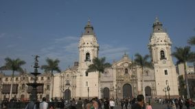Panning shot of the cathedral of Lima in Peru