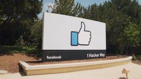 Panning shot of facebook headquaters in menlo park. Panning shot of the sign at facebook headquaters in menlo park, california stock footage