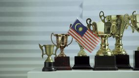 Row of  trophies stock footage