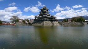 Panning shot of Matsumoto castle in spring, Nagano, Japan stock video footage