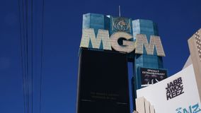 Panning shot of MGM Grand marquee. stock video footage
