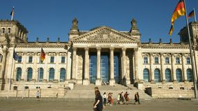Reichstag Berlin, panning shot stock footage
