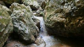 Panning shot of stream among stones. Panning shot of mountain stream among stones stock video footage