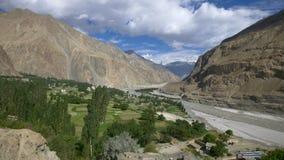 Panning shot of turtuk village, Diskit, Jammu & Kashmir, India stock video footage