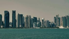Panning on skyscrapers in Doha stock video footage