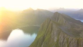 Panning of the straits and mountains of Troms County. Norway stock video footage