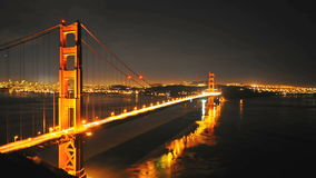 Panning Time Lapse of the Golden Gate Bridge at Night San Francisco - Clip 1 stock video