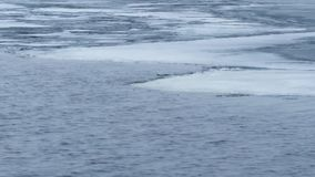 panning Timelapse wodne fala na częsciowo marznącym jeziorze zbiory