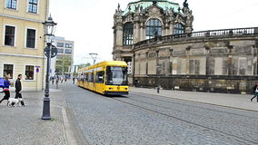 Panning with tram in Dresden, Germany stock video footage