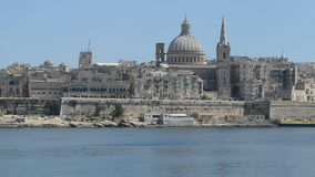 The panning of Valletta in sunset stock footage