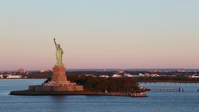 Panning video of the Statue of Liberty