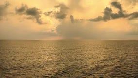 Panning video of vivid oceanic horizon dramatic sky and seas stock footage