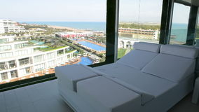 Panning the view from apartment of modern luxury hotel. Antalya, Turkey stock video footage