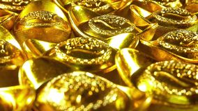 Panning view of the Chinese gold ingots. Foreign text means rich,luck and blessing stock footage