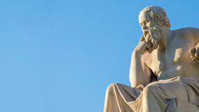 Panning view of the statue of the Greek philosopher Socrates