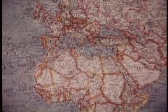 Panning world map stock footage