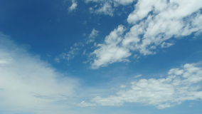 Panning with zoom out view clouds and blue sky, full HD. Stock Photography