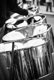 Pannist playing on steel drums during a street festival stock images