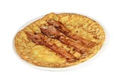 Pannkaka med bacon. Royaltyfria Bilder
