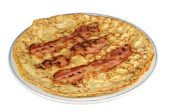 Pannkaka med bacon. Royaltyfri Bild