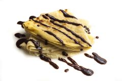 Pannkaka med choklad royaltyfri bild