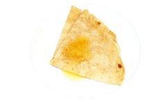 Pannkaka med en honung Arkivbild