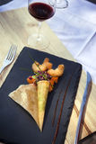 Pannkaka och grönsak Fotografering för Bildbyråer