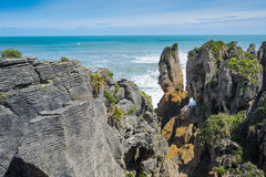 Pannkakan vaggar, Punakaiki, den södra ön, Nya Zeeland Arkivbilder