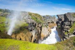Pannkakan vaggar, Punakaiki, den södra ön, Nya Zeeland Arkivfoto