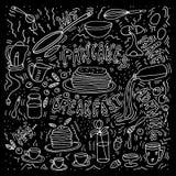 Pannkakatillverkare sura kräm- pannkakor för driftstoppmålmorgon royaltyfri illustrationer